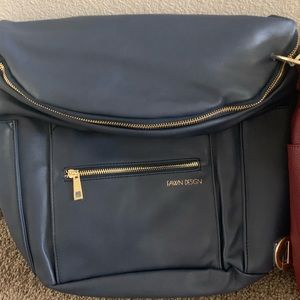 Brand new Fawn Design leather backpack (navy)